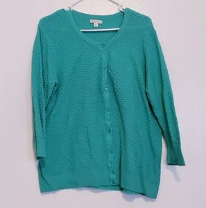 Turquoise teal textured cardigan sweater